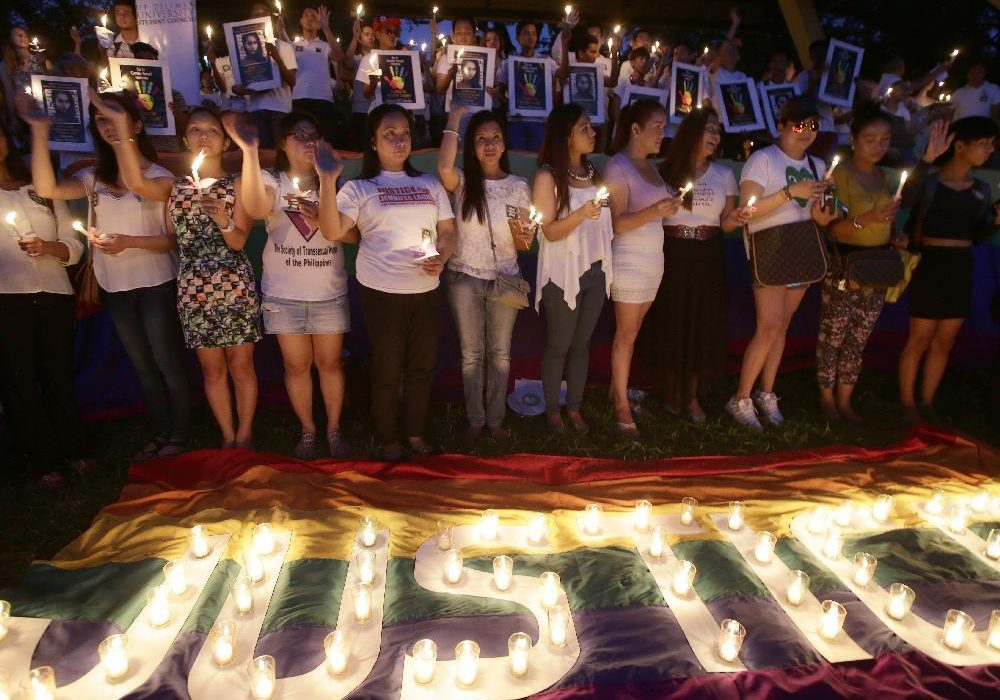 Demonstrators at the University of the Philippines campus denounce the slaying of trans woman Jennifer Laude, on Friday, Oct. 24, 2014.Bullit Marquez / The Associated Press